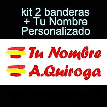 Vinilin Pegatina Vinilo Bandera España + tu Nombre - Bici, Casco, Pala De Padel, Monopatin, Coche, Moto, etc. Kit de Dos Vinilos (Rojo): Amazon.es: Deportes y aire libre