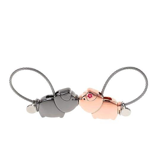 Dabixx Keychain, Mini Novedad Lucky Pig Parejas Cerradura Candado Cerradura de Seguridad Sin Llaves Sin Contraseña Lindo Amante Piggy Llavero Colgante ...