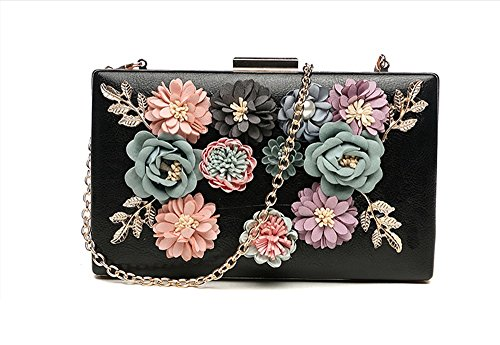 Bag Hand Flower Small Black Backpack Chain Bag Bag Rose Square Package Hand Banquet The Chain Dinner Version of Color Bag Oblique red Korean Bag Handbags wAqIx
