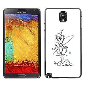 GOODTHINGS Funda Imagen Diseño Carcasa Tapa Trasera Negro Cover Skin Case para Samsung Note 3 N9000 N9002 N9005 - alas de hadas niña dibujo a lápiz arte mariquita