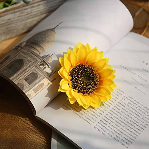 Inverlee 1Pcs Artificial Flowers Silk Sunflower Floral Fake Flowers Wedding Bridal Bouquet DIY Home Garden Decor (Yellow Lily Basket)