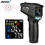 Infrared Thermometer Temperature Gun MESTEK Non-Contact Laser Digital Thermometers with Color LCD Screen -58℉~1022℉(-50℃~550℃) Adjustable Emissivity Humidity Alarm Setting Max/Hold Indoor Outdoor Home
