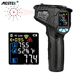 Infrared Thermometer Temperature Gun Mestek Non Contact Laser Digital Thermometer With Color Lcd Screen 58℉ 1022℉ 50℃ 550℃ Adjustable Emissivity Humidity Alarm Setting Max Hold Indoor Outdoor Home