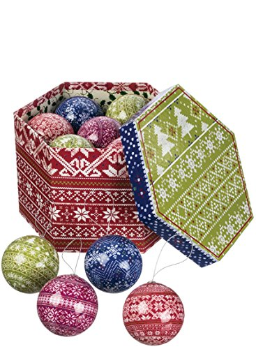 Cable Knit Christmas Sweater Pattern 3 inch Classic Round Christmas Ornaments in ()