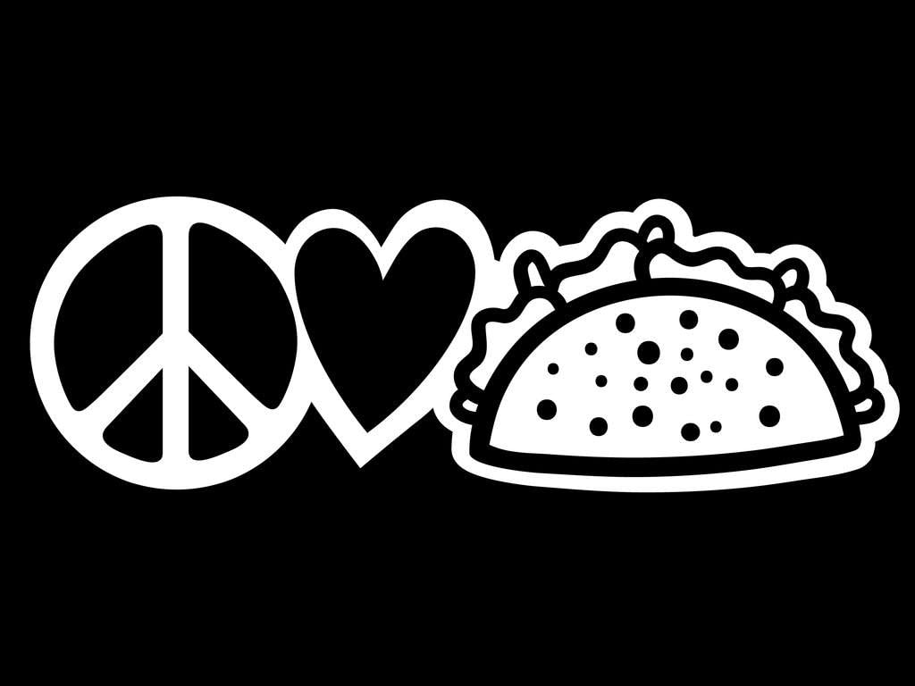 Peace Love Tacos Vinyl Decal Sticker | Cars Trucks Vans Walls Laptops Cups | White | 7.5 X 2.5 Inch | KCD1645W