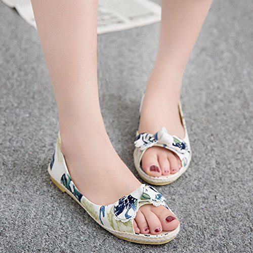 Cloth Open on 7 Sandals DoraTasia Toe Bowknot Green Slip Women's Flat Shoes 7HnYZ