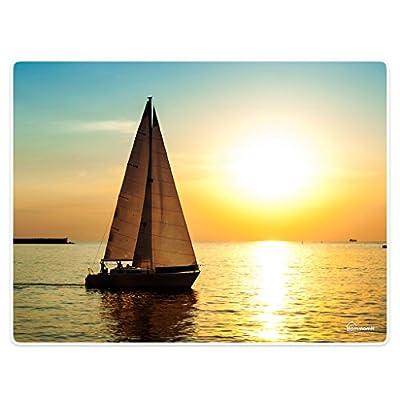 HommomH Doormat Door Mat Rug for Floor Shoe Scraper Sunset Shoreline Sailboat Natural Waterscape