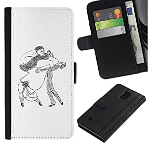 LASTONE PHONE CASE / Lujo Billetera de Cuero Caso del tirón Titular de la tarjeta Flip Carcasa Funda para Samsung Galaxy Note 4 SM-N910 / Dance Caricature Man Woman Big Drawing Art