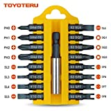 TOYOTERU 17 Piece S2 Screw Driving Bit Set for all driving (C)|Phillips,Flathead,U-type,Square Bits