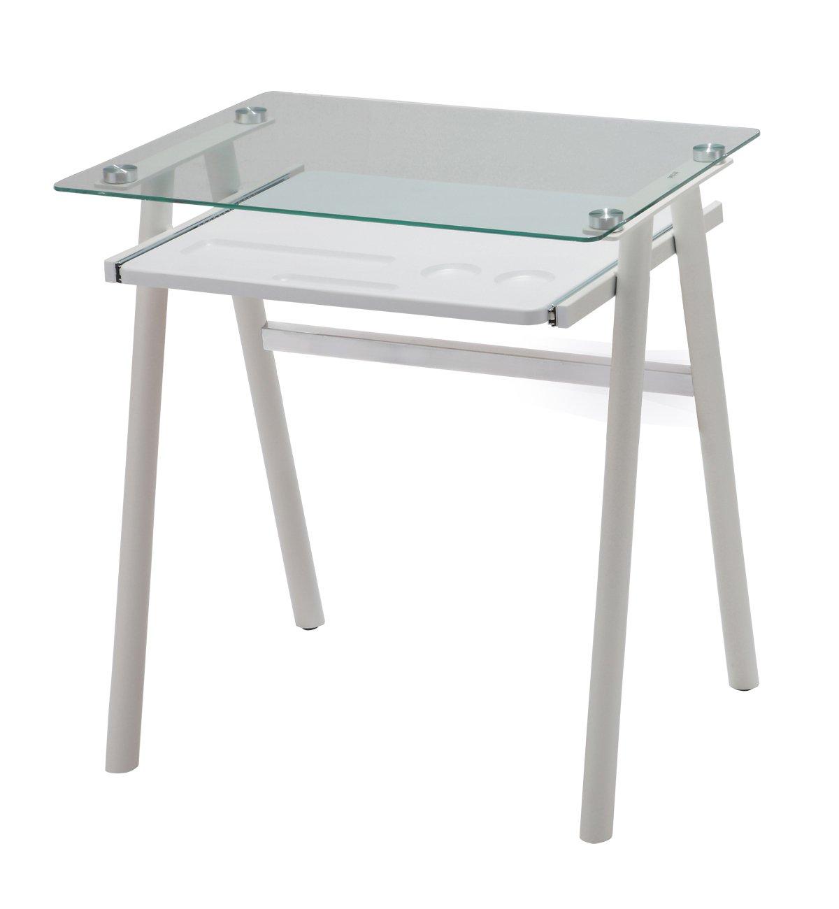 あずま工芸 トリスタ ガラスデスク 幅70cm ガラス天板 ホワイト EDG-1971 B01HMCR5E2 ホワイト ホワイト