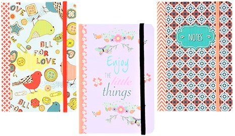3 Small THREE (3) Pocket Fashion Hardback Inspirational Journals Diaries Notebooks 4.5
