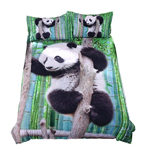 Alicemall 3D Panda Bedding Cute Panda Climbing the Tree Green Bamboo Prints Duvet Cover Set, 4 Pieces Soft Bedroom Sheets Set, Twin Size Kids' Bedding (Twin, Panda on a Branch) ()