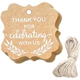 SUPVOX Kraft Hanging Tags with String Thank You Printing Gift Tags Party 100pcs
