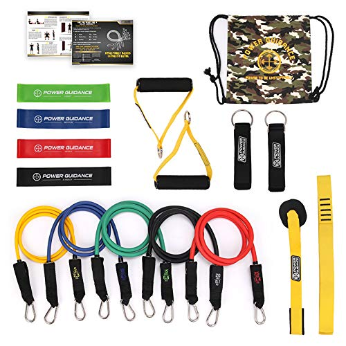 Generic 15 in 1 Home Gyms Workout Nature Latex Resistance Band Pull Rope Set Yoga Fitness Expander Tubes Exercise Training Rubber Band Color 15 Pieces