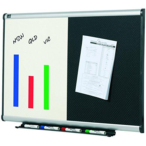 Quartet BTE643A Quartet Dry-Erase/Bulletin Board, Embossed Foam, 36x24, BLK/WE, Aluminum Frame