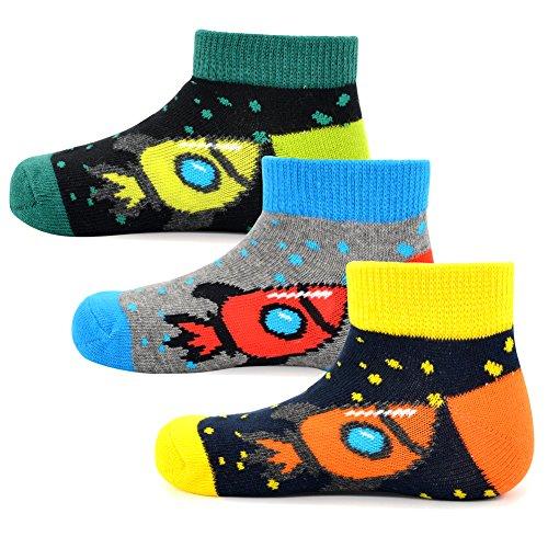 SocksDaze Boys Kids' Ankle Socks Gift Box Colorful Rocketship Design Cozy Cotton Crew Socks for 4-6T, 3 Pairs