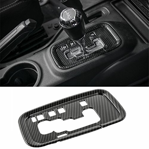YOCTM for Jeep Wrangler 2011-2017 Accessories Gear Shift Plate Shifter Transfer Full Cover Decoration Interior Trims Carbon Fiber Look ABS Car Styling