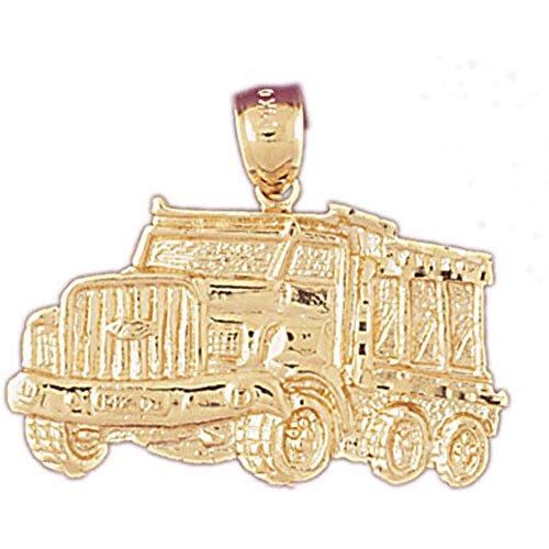 14K Yellow Gold Dump Truck Pendant - 26 mm
