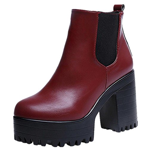 Gillberry Women Boots Square Heel Platforms Leather Thigh High Pump Boots Shoes  (9.5, Red)