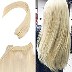 Youngsee 12inch Flip Halo Blonde Human Hair Extensions Color #60 Hidden Halo Couture Hair Extensions Adjustable Wire Headbands for Women 12inch Width 80g/Pack