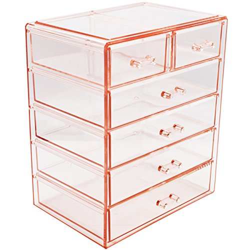 - Sorbus Cosmetics Makeup and Jewelry Big Pink Storage Case Display- 4 Large and 2 Small Drawers Space- Saving, Stylish Acrylic Bathroom Case