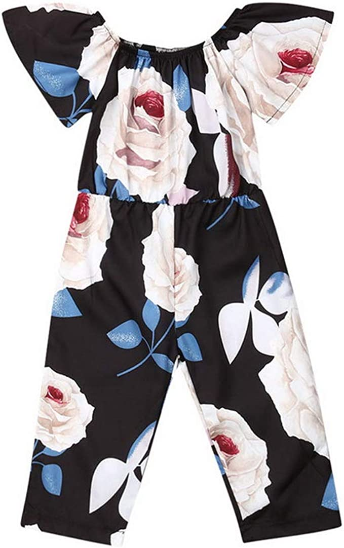 Floral Romper Short Sleeve Jumpsuit Baby Girls Toddler Playsuit Clothing Outfits