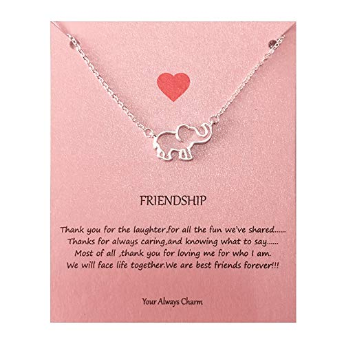 Your Always Charm Geometric Origami Elephant Necklace,Lucky Elephant Friendship Gifts with Message Card (Silver Elephant)