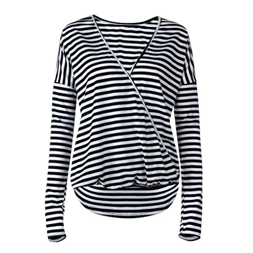 Women Ladies Stripe Fashion V-Neck Tops Long Sleeve Shirt Blouse (Gel Coat Labs Bow)