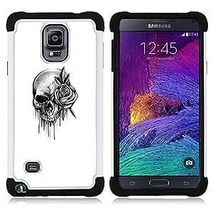 For Samsung Galaxy Note 4 SM-N910 N910 - skull rose rock roll death metal ink Dual Layer caso de Shell HUELGA Impacto pata de cabra con im????genes gr????ficas Steam - Funny Shop -