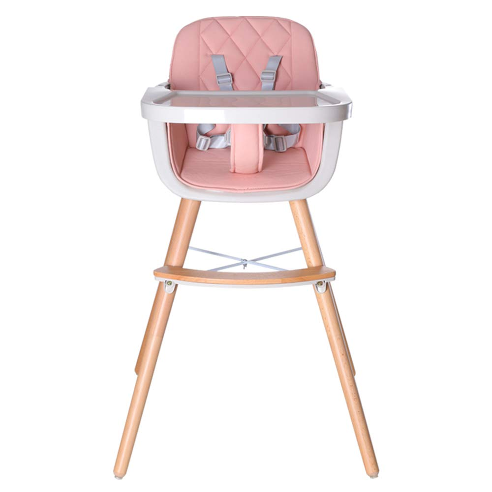 Wooden High Chair Feeding Baby High Chairs for Baby//Infants//Toddlers Style 3 Pink Adjustable Legs HAN-MM Baby High Chair with Removable Gray Tray Harness
