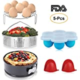 BAYKA Pressure Cooker Pot Accessories Set with Stainless Steel Basket, Non-Stick Springform Pan, Egg Bites Molds, Steamer Rack, Mini Mitts, Fits 5,6,8 Qt, 5-in-1, Well-Made