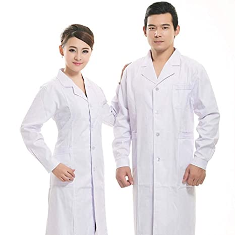 QZHE Ropa médica Ropa Médica Batas De Algodón Laboratorio Bata Blanca Ropa Médico Enfermera Ropa,