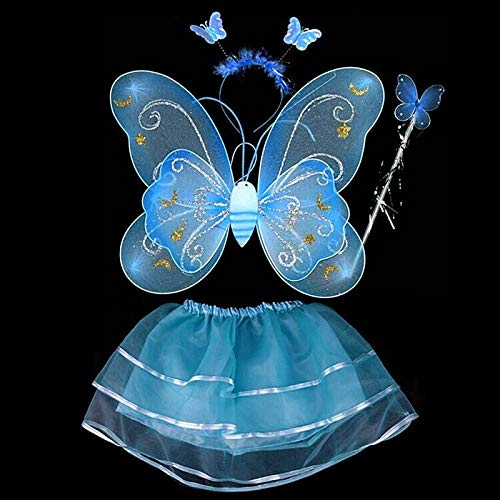 (Costume Cosplay - Fairy Girl Kid Party Butterfly Wing Wand Headband Tutu Skirt Cosplay Costume - Costume Skirt Incredible Cosplay Party Decorations White Wing Birthday Elsa Girl Wand Magic)
