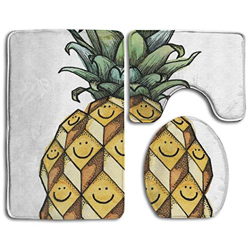 Fruitful Kelly Jade King Bath Rug Set 3PCS Memory Foam Non-Slip Bathroom Rug Contour, Mat and Toilet Lid Cover