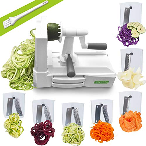 Spiralizer Ultimate 7 Strongest-and-Heaviest Duty Vegetable Slicer Best Veggie Pasta Spaghetti Maker for Keto/Paleo/Gluten-Free, With Extra Blade Caddy & 4 Recipe Ebook, White (Best Vegetable Pasta Maker)