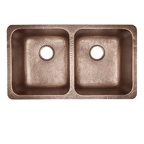 Sinkology SK204-32AC Rivera Luxury Series Undermount Handmade Pure Copper Double Bowl Kitchen Sink, 32-1/4'', Antique Copper by Sinkology (Image #1)
