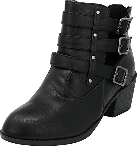 Cambridge Select Women's Closed Round Toe Western Triple Strap Buckle Side Cutout Chunky Stacked Block Heel Ankle Bootie,8.5 B(M) US,Black (Womens Side Buckle)