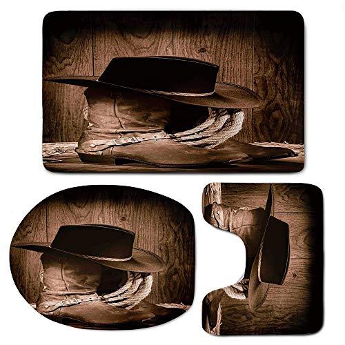 (CuteToiletLidABC 3 Piece Bath Mat Rug Set,Western Decor,Bathroom Non-Slip Floor Mat,Wild West Themed Cowboy Hat Old Ranching Rope On Wooden Display Rodeo Style)