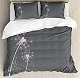 Pink and Grey Queen Size Duvet Cover Set by Ambesonne, Dandelion Flowers with Hearts Pastel Love Celebration Anniversary, Decorative 3 Piece Bedding Set with 2 Pillow Shams, Pink Grey Pale Green