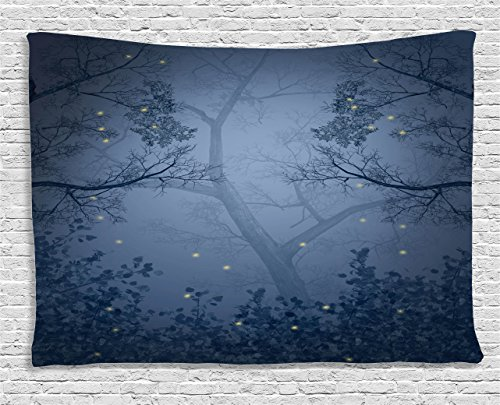 Ambesonne Mystic Forest Decor Tapestry by, Fog Dark Gloomy Horror Mist Forest with Fairy Dragonflies on Branches Print, Wall Hanging for Bedroom Living Room Dorm, 60WX40L Inches, Blue (Dragonfly Tapestry Wall Hanging)