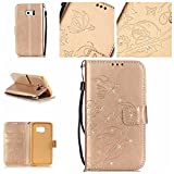 BoxTii Galaxy S6 Edge Wallet Case, Galaxy S6 Edge Leather Case with Free Tempered Glass Screen Protector, Premium Sparkle Rhinestone Flip Case for Samsung Galaxy S6 Edge (#6 Champagne Gold)