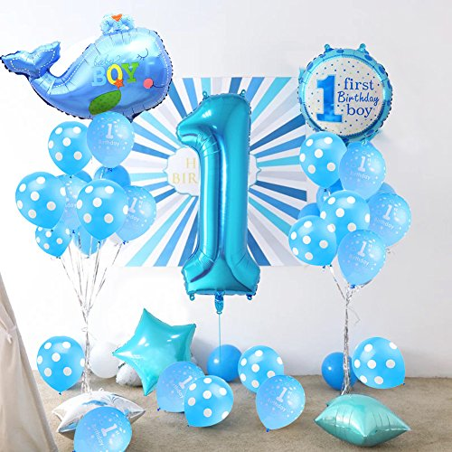 KUMEED Boy 1st Birthday Party Balloons Decoration Set Blue Latex And Letters Foil Kit Amazoncouk Toys Games
