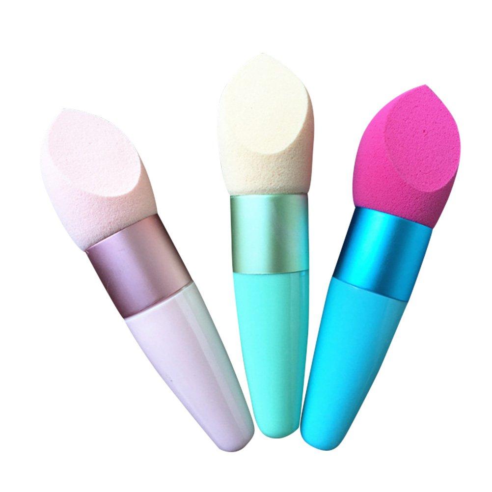 Frcolor Handle Foundation Makeup Sponge Cosmetic Blender Puff for Powder, Concealer and Foundation Applicator, 1pcs(Random Color)