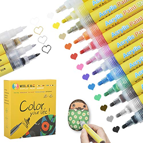 Acrylic Paint Pens, 16 Acrylic Pens Paint Marker Pens for Rock Painting, Canvas, Photo Album, DIY Craft, School Project, Glass, Ceramic, Wood (12 Medium Tip + 4 Extra Fine Tip)