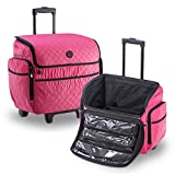 KIOTA Makeup Artist Case on Wheels, Soft Cosmetic Case with Trolley and Removable Storage Pockets for Beauty Products, Side Compartments with Zippers, Bubblegum