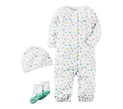 Carters Baby Girls 3 Piece Floral Bodysuit Set 3 Months