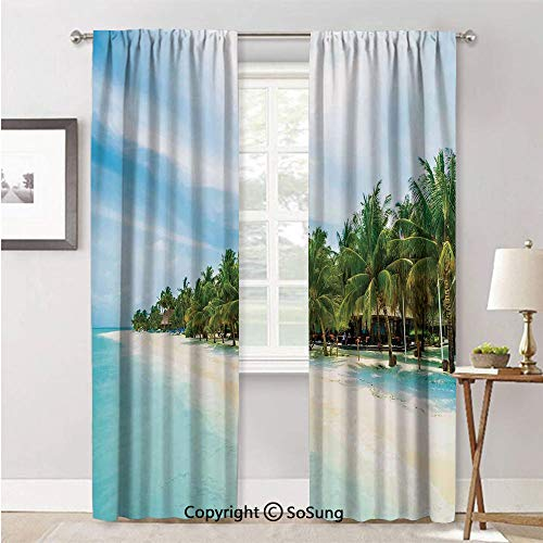 Curtains Window for Living Room,Surreal Beach and Sea in Tropical Island with Coconut Palm Trees Ocean Exotic Lands Turquoise Green,Curtain Panels and Drapes,52x96inch Each,2 Panels