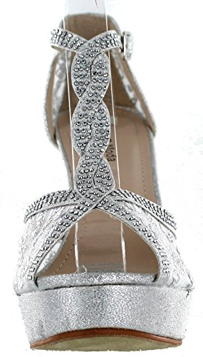 Open Moda Crochet Toe 5 Hy High Silver Sandals Heel Top 1dw7qtd