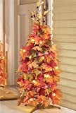 "44"" Lighted Harvest Fall Thanksgiving Collapsible Colorful Maple Leaves Autumn Tree Decoration (1)"