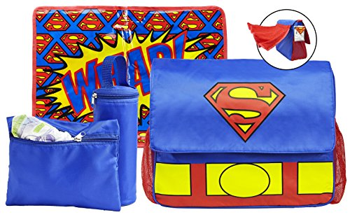 Superman Diaper Bag and Changing Pad with Detachable